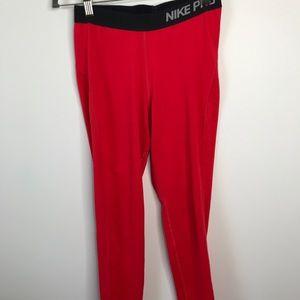 Nike Pro Training Leggings Solid Red Full Length M